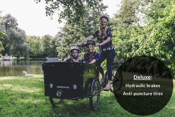Electric cargobike with hydraulic brakes and anti-puncture tires