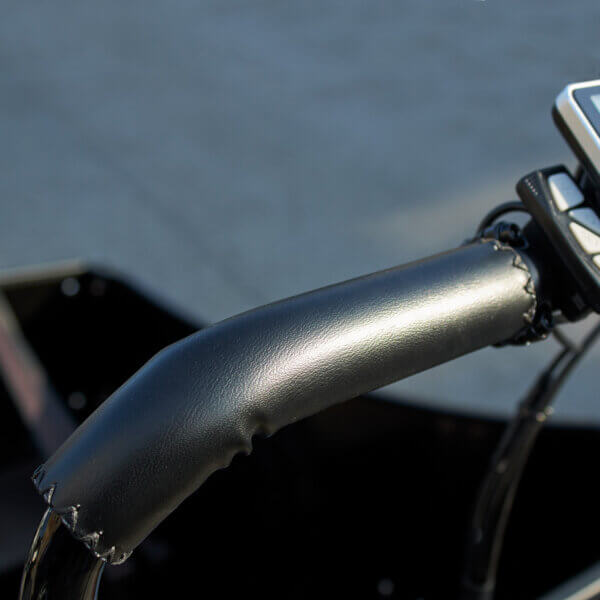 Leather handles for cargo bike Amcargobikes