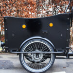 Electric Cargo bike left side wood panel Amcargobikes